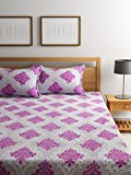 #2: Bombay Dyeing Elements 120 TC Polycotton Double Bedsheet with 2 Pillow Covers - Pink