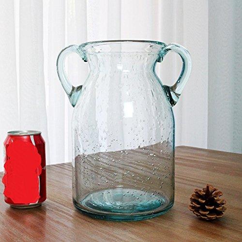 Vaso di vetro della bolla blu orecchie