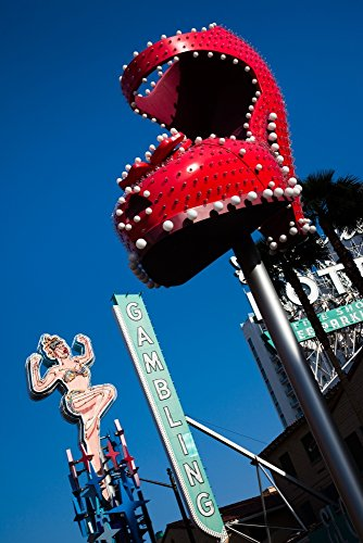 Panoramic Images – Ruby slipper neon sign in a city El Cortez Hotel and Casino Fremont Street Las Vegas Nevada USA Photo Print (68,58 x 22,86 cm) (Fremont-street-casino)