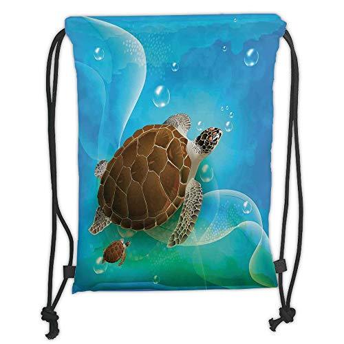 WTZYXS Drawstring Sack Backpacks Bags,Ocean Decor,Turtle Family Swimming in The Ocean Bubbles Underwater World Cartoon Fun Artwork,Green Blue Brown Soft Satinrin,5 Liter Capacity.
