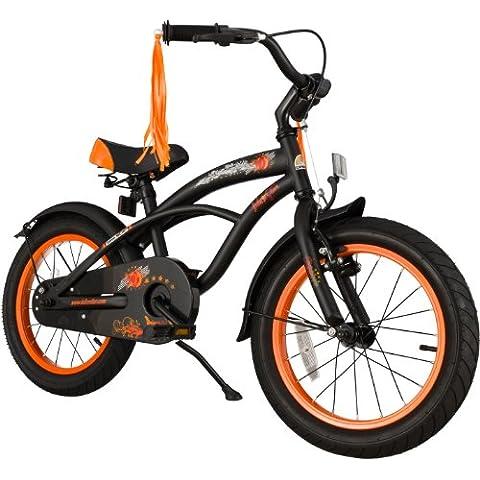 BIKESTAR® Premium 40.6cm (16 pulgada) Bicicleta Premium para los niños mas atrevidos y divertidos de 4 años ★ Edición Cruiser de Lujo ★