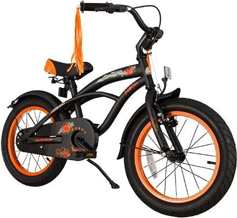 BIKESTAR® Premium Vélo pour enfants à partir d'env. 4-5 ★ Edition Deluxe Cruiser 16 ★ Couleur Noir