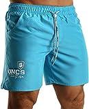 UNCS Herren Badeshorts Blaze mit Innenslip und mit Taschen, Premium-Qualität, neon blau, Größe XL