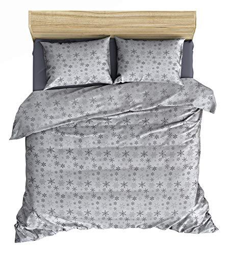 Friends at Home Bettwäsche-Set für Queen, 100% Baumwolle, weich, hypoallergen, bequem, flauschig, Hotel-Collection, schweres Flanellgewebe (weiß, grau)