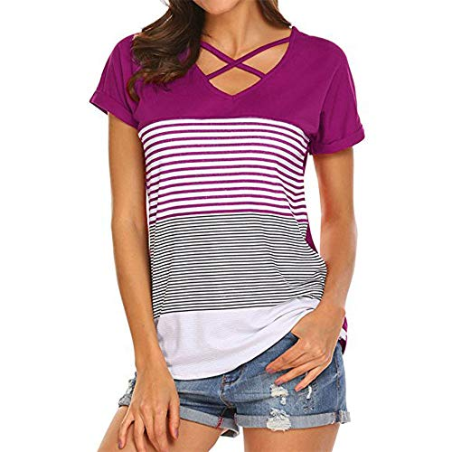 Lila Womens Cap Sleeve T-shirt (Frauen V-Ausschnitt T-Shirt Kurzarm Einfarbig Lose Beiläufige Oberteile mit Tasche Frauen Oberteile Lose Ärmel Bluse Einfarbig Spitze Patchwork Tees Lila XL)