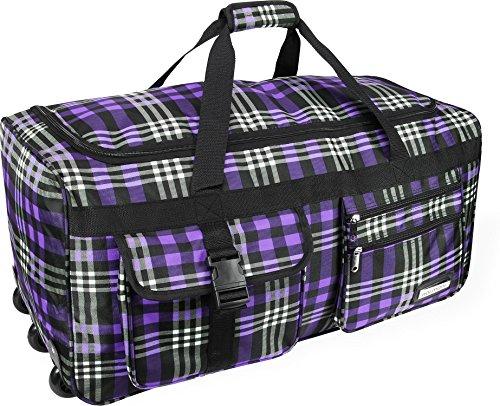 Reise- und Sporttasche mit Trolleyfunktion von normani® Karo Purple