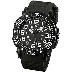 INFANTRY® Mens Analogue Quartz Wrist Watch Sports Black Dial Analogue Display Rubber Strap Rotating Bezel INFILTRATOR