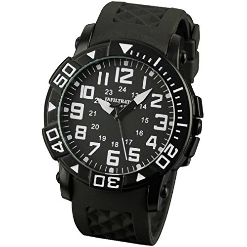 INFANTRY® Herren Analoges Quarzwerk Armbanduhr Sportuhren Outdoor Schwarz Gummi Armband