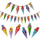 Oblique Unique® Zuckertüten Girlande Hänge Deko für Schuleinführung Einschulung Schulanfang Dekoration Banner Schule Jungs Mädchen bunt -