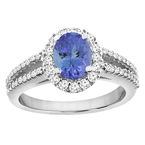 Revoni 14ct White Gold Natural Tanzanite Split Shank Ring Oval