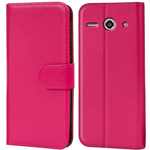 Verco Huawei Y530 Hülle, Handyhülle für Huawei Ascend Y530 Tasche PU Leder Flip Case Brieftasche - Pink