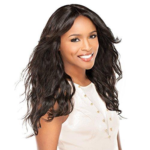 Sensationnel BRAZILIAN LACE WIG - Natural Wavy (Bare & Natural) - 100% Echthaar Perücke / 100% human hair Lace Wig (färbbar, waschbar, stylebar) (Natural (sehr dunkles Braun)) - Crown Hair Extensions