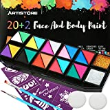 ARTISTORE 22 Colores Pintura Facial Profesional,Certificación de FDA, 22 Colores Set de Pintura Corporal,Hipoalergénico, Seguro No Tóxico, Fácilmente Extraíble