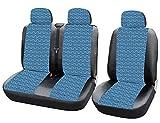 Woltu AS7344 Asientos de automóvil universales Cubre para Las Furgonetas, 1 + 2 Fundas de Asiento de Coche de la Cubierta de Asiento de Cuero de imitación Azul