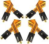 Poppstar 4X 28cm Sat Fensterdurchführung, Türdurchführung für Koax Kabel Kupplung (F-Stecker), sehr flach (0,2mm) für Fenster und Türen, vergoldete Kontakte, orange