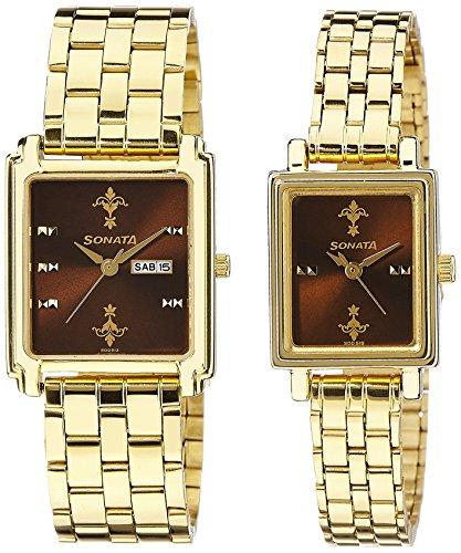 Sonata Analog Brown Dial Couple's Watch -NK70538080YM02