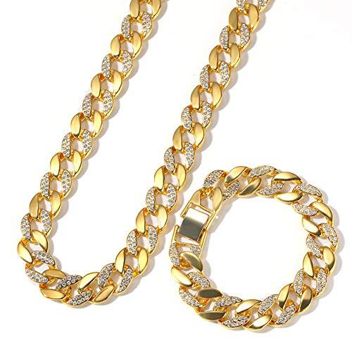 kette Halskette Armband Set voll Iced Out Strass Bling Bling Hiphop Schmuck Set,Gold ()