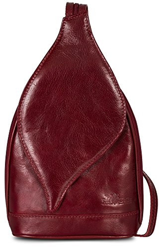 Petit sac à main 2 en 1 porté épaule transformable en sac à dos en autentique cuir italien - Ouverture magnétique type feuille - 'Kim' par LiaTalia(Rouge sombre)