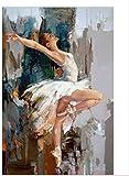 RUIYAN Quadro su Tela Danza Ballerina Dipinto Ad Olio Famoso Pittore Mahanur Pittura Astratto Balletto Ragazza Murale Mm34A 40X60Cm Senza Cornice