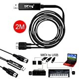 USB MIDI cable,MIDI Kabel USB In-Out Interface Konverter Adapter für E-Keyboard/E-synthesizer zu PC Keine Notwendigkeit für zusätzliche Treiber (6,5 ft) USB to MIDI Adapter Kabel 2,0m