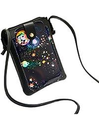 Women Starry Sky Print Flap Bag Crossbody Bag Messenger Bag Shoulder Bag Phone Bag Coin Bag (Black)