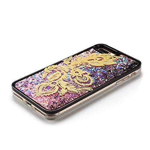 Cover iPhone 7 plus Custodia iPhone 7 plus Liquido Anfire Trasparente Rigida Duro Plastica PC Case per Apple iPhone 7 plus (5.5 Pollici) Sabbie Mobili Shell 3D Bling Glitter Floating Quicksand Copertu Fiore