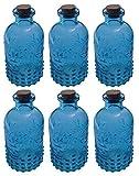 Dekoflasche Glasflasche 6 Stück Korkenglas Korkengläser Deko Apotheke Flasche Likörflasche Apothekerglas Vintage Glas (blau)