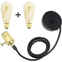 LIVHÒ | Lampada a sospensione cavo 1,5metri + 2 lampadine 60W E27 Edison – Lampadario/ Portalampade da soffitto stile classico retrò [classe efficienza