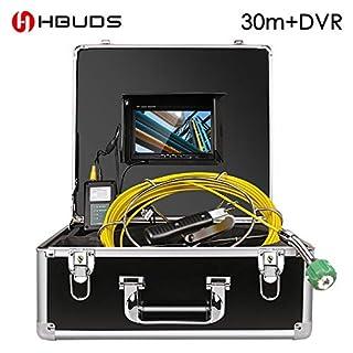 Rohr-Abwasserinspektionskamera, HBUDS-Abfluss-industrielles Endoskop-Schlange-Video-Sanitär-System wasserdichtes IP68 mit LCD-Monitor 1000TVL DVR Recorder 30M Kabel (einschließlich 8 GB SD-Karte)