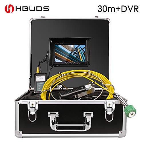 Rohr-Abwasserinspektionskamera, HBUDS-Abfluss-industrielles Endoskop-Schlange-Video-Sanitär-System wasserdichtes IP68 mit LCD-Monitor 1000TVL DVR Recorder 30M Kabel (einschließlich 8 GB SD-Karte) Dvr-kabel-boxen