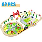 Nuheby Trenino Legno Giocattoli Pista Macchinine Ferrovia Treno Giocattolo Giochi Educativi per Bambini Regalo Ragazza Ragazzo 3 4 5 Anni
