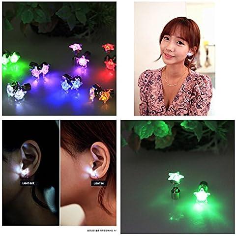 Namsan 1paio orecchini fascio di luce a LED con pendente a stella tipo ear stud acciaio per Rave party, multicolore, Red, 1 Paio