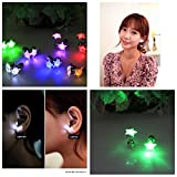 Namsan 1 paire d'oreilles LED Glowing Light Up avec étoile de type oreille Goutte pendentif Stud inoxydable pour Rave Party-Light Purple