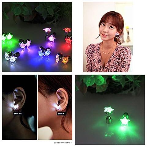 Namsan 1 Paar LED Ohrringe Glowing Light Up mit Stern-Art-Ohr-Bolzen-Tropfen-hängende Edelstahl für Party-Partei-Red (Partei Kostüme)