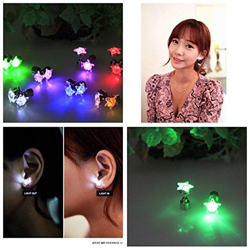 Zum Einer Verkauf Art Von Kostüm Ein - Namsan 1 Paar LED Ohrringe Glowing Light Up mit Stern-Art-Ohr-Bolzen-Tropfen-hängende Edelstahl für Party-Partei-Blue Light