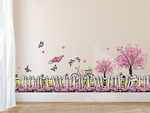 Solimo Wall Sticker for Living Room (Pink Floral Picket Fence with butterflies,  ideal size on wall:...