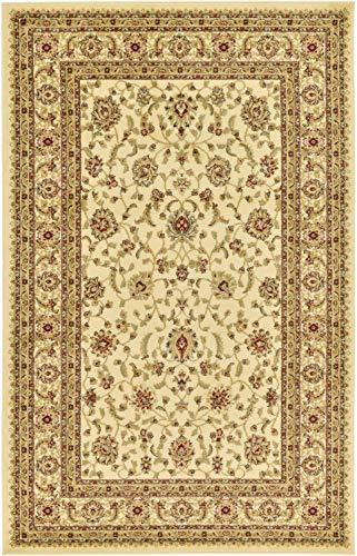 Traditionelle Agra Bereich Teppich, Polypropylen, cremefarben, 5 x 8