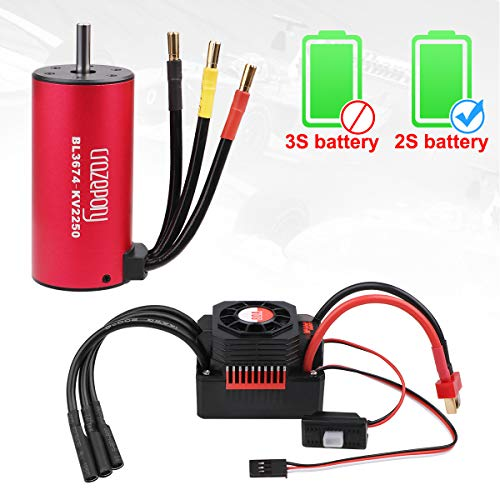 Crazepony-UK BL3674 Brushless Motor 2250KV RC Car Waterproof Sensorless and 80A ESC Eletronic Speed Controller Combo Shaft 5mm for 1:8 RC Car Only 2S Lipo -