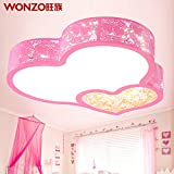 JJ Moderne LED Deckenleuchte LED Deckenleuchte Schlafzimmer warme romantische Hochzeit Zimmer Rosa herzförmige Kristalllampen Kinder Zimmer/Prinzessin Lampen,220V-240V