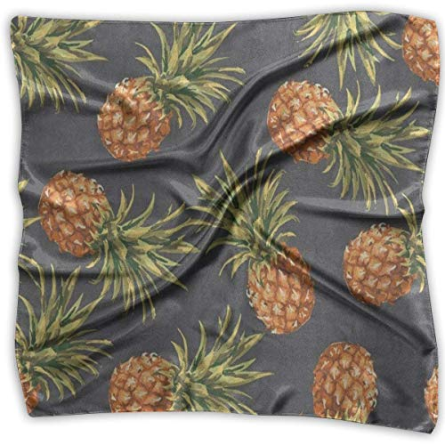 Women Silk Scarf Watercolor Pineapple Art Printed Square Scarf Sunscreen Shawls -