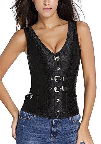 r-dessous Vintage Träger Corsage Korsett schwarz Bustier Mieder Corsagentop Gothic Steampunk Shirt Groesse: M (Korsett Schwarz Bustier Gothic)