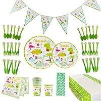98pcs Dinosaur Theme Kids Birthday Party Supplies Decoration Set Disposable Tableware Set, Including Plate, Cup, Napkins, Straws, Knife, Fork, Spoon, Tablecloth, Banner, Services 12 Guests