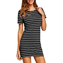 Amlaiworld Damen Sommer Fashion Stripe Kurzarm gestreift locker t-Shirt- Kleid 6d4dde4e1b