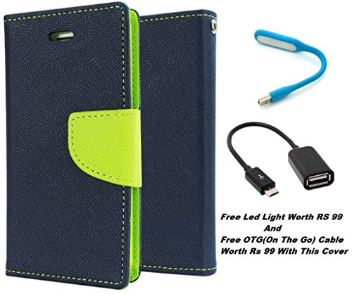 DOT Diary Style Flip Cover With Free Led Light And OTG Cable For Micromax Canvas Fire3 A096 (Blue)  available at amazon for Rs.309