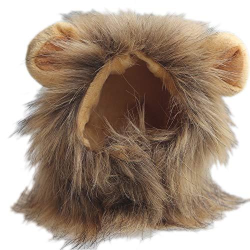 (HKANG PET Kostüme Lion Mane Wig Hund Hund Halloween Dress up & Ears Turns Kitten Into a Wilde Löwe)