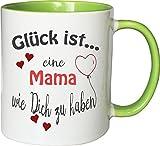 WarmherzIch Becher Tasse Glück ist… Mama Kaffee Kaffeetasse liebevoll Bedruckt Mutter Mama Muttertag Weiß-Grün