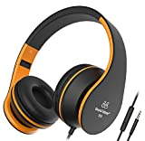 Casque Audio Best Deals - Sound Intone I68 Casque Hi-Fi Stéréo Pliant Multi- coloris En Caoutchouc Matte avec Volume contrôle Comptatible au portable intelligent PC tablette Ipad(Noir/Orange)
