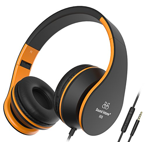 Sound Intone i68 New Folding 3.5 mm Hi-Fi Stereo On-Ear Swivel Cups Headphones – Moving Stretch Ergonomics Wear Design Noise Cancelling Headset for PC/Smart Phone/iPad/PSP