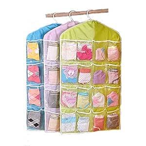 CHESHTA 16 Pocket Mount Hanging Wall Pocket Storage Case Bag - Storage Space Saving Closet Organizer Bag For Socks - Footwear - Wardrobe Jewelry Finishing Bag (80 * 42 cm) (Multicolor, Polyester) (16 Pockets Hanging Bag (1Pcs))