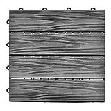 SIENOC Sets de dalles de terrasse bois composite WPC Jardin (2x300*300 * 22mm bande...